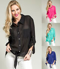 FRONT TIE Sheer Chiffon HI-Lo PLUS SIZE Top Blouse XL/1X/2X/3X  FREE SHIP   0137