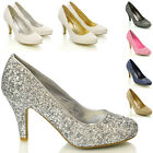 WOMENS BRIDAL WEDDING MID HEEL LADIES IVORY WHITE SILVER PROM PARTY SHOES SIZE