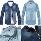 New Men Long-sleeved Denim Dress Shirt Lapel Stylish Luxury Slim Fit Blouse Tops