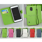 Book Flip PU Leather Card Pouch Wallet Case Cover For Samsung Galaxy S5 i9600