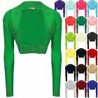 WOMENS LADIES KNITTED CROCHET BOLERO SHRUGS CARDIGAN LONG SLEEVES TOP SIZE 8-24