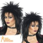 Adult Rock Diva Wig 80s Black Mullet Spiky Mullet Cher Womens Ladies Fancy Dress