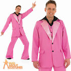 70s Pink Disco King Costume John Travolta Stag Party Fancy Dress Outfit New