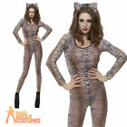 Tiger Print Body Suit Sexy Animal Catsuit Womens Ladies Fancy Dress 6-14
