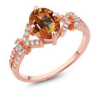 2.66 Ct Ecstasy Mystic Topaz White Created Sapphire Rose Gold Plated Silver Ring