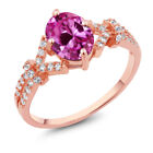 2.76 Ct Pink and White Created Sapphire 925 Rose Gold Plated Silver Ring