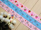 "1""(U PICK) Cupcake Strawberry Printed Grosgrain Ribbon hair Bow 5/10/20/50 Yds"