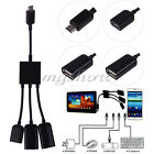 Dual Micro USB Host OTG Hub Converter Cable Adapter For Galaxy Note 10.1 P601