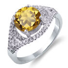 2.30 Ct Round Natural Champagne Quartz 925 Sterling Silver Ring