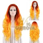 "Long Curly Wavy 18""-28"" Red Orange Lace Front Wig Heat Resistant"