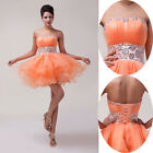 New Sexy Mini Short Voile Wedding Party Dresses Cocktail Prom Evening Ball Gowns