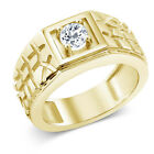 0.60 Ct Round White VS Topaz 925 Yellow Gold Plated Silver Men's Ring