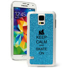 For Samsung Galaxy S3 S4 S5 Glitter Bling Case Cover Keep Calm and Ice Skate On