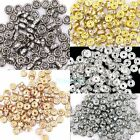 100pcs Crystal Rhinestone Paved Rondelle Copper Metal Spacer Beads 4mm
