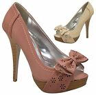 NEW Women's Flower Cut Out Bow Peep Toe Stacked Platform Stiletto Pumps Shoes