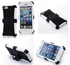 White HEAVY DUTY TOUGH SHOCKPROOF WITH STAND HARD CASE COVER FOR iPhone5 5S TZJW