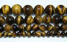 """AAA Tiger Eye Brown Beads 4mm-6mm-8mm-10mm Real Stone 15.5"""" Strand"""