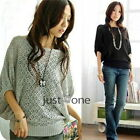 Fashion Womens Girls Lady Knited Batwing Sleeves T-shirt Hollow Tops Sweater S M