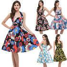 Vintage Halter Floral Housewife 1940s 60's Rockabilly Swing Pinup EVENING Dress
