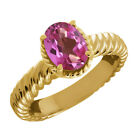 2.30 Ct Oval Pink Mystic Topaz 925 Yellow Gold Plated Silver Ring