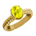 2.30 Ct Oval Canary Mystic Topaz 14K Yellow Gold Ring
