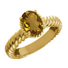 1.60 Ct Oval Whiskey Quartz 14K Yellow Gold Ring