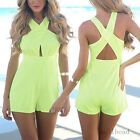 Sexy Women Halter Jumpsuit Summer Beach Cross Short Playsuit Hollow Coctail New