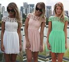 New Women Sexy Lace Chiffon Backless Pleated Party Evening Summer Beach Dress