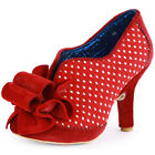 Irregular Choice Hook Line & Sinker Womens Fabric Red Heels New Shoes All Sizes