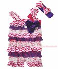 Baby Girl Hot Pink White Chevron Purple Rose Lace One Piece Satin Romper NB-3Y