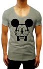 NEW MENS  T-SHIRT FINGERS MICKEY MOUSE SCOOP SINGLET HOODED SWAG DISNEY GREY GYM