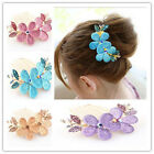 Hot Stylish Lady Girl Flower Pattern Alloy Rhinestone Barrette Hair Clip Comb