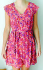CREW CLOTHING NEW MIAMI PINK MAGENTA FLORAL CHIFFON SHIFT DRESS RRP £95 SZ 6-20