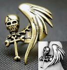 FD305 Fashion Gothic Punky Silver Bronze Death Skull Wing Adjustable Ring ~1PC~