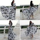 Fashion womens swing floral chiffon maxi long dress evening party ball gown size