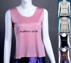 WOMENS GIRLS 100% PURE SILK TANK BLOUSE TOPS WIDE STRAP CAMI CAMISOLE TEE SHIRT