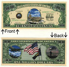 U.S. Navy One Million Dollars Novelty Bill Notes 3 5 25 50 100 500 or 1000
