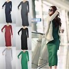 Women Bodycon Long Maxi Knits Dress Slim Solid Crewneck Long Sleeve Casual Dress