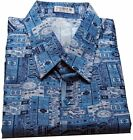 Mens Thai Silk Shirt  Short - Long Sleeve / S-XXXL / Blue & White Pattern no.5