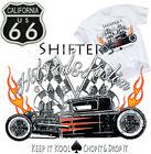 Shifter's Hot Rod T-Shirt Kustom Parts Garage Rockabilly Route 66 US Flames Weiß