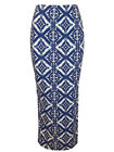 ATMOSPHERE WOMENS NEW BLUE WHITE AZTEC TRIBAL PRINT JERSEY MAXI SKIRT SIZE 8-20
