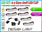 SET:  Plastic LED CLIPS LIGHT for GLASS SHELF + UK power system /colors, points