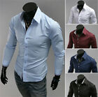 Solid Lapel plain colors long sleeve Cool slim sexy fitted design dress shirt