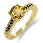 1.42 Ct Round Champagne Quartz Black Diamond 925 Yellow Gold Plated Silver Ring