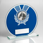 Jade Glass Round Plaque Blue/Silver With Horse Insert Trophy Award ENGRAVED FREE