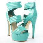 Teal Open Toe Velcro Starppy Ankle Cuff Platform Stiletto High Heel Pump Sandal
