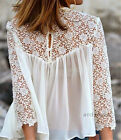New Vintage Women's Lace Splice Tops Chiffon Long Sleeve Loose T Shirts Blouse