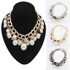 1PC Luxury Women Rhinestone Pearl Collar Bib Necklace Jewelry Gift Tide