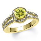 1.50 Ct Round Canary Mystic Topaz White Created Sapphire 14K Yellow Gold Ring