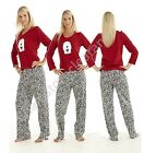 Ladies MnS Pyjama Set Fleece Top With Bow On Polar Bear Leapord Print Bottoms